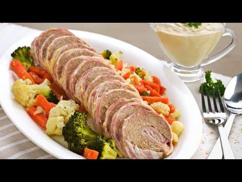 Receta Thermomix ® - Rollo de carne, queso y verduras con salsa de champiñones