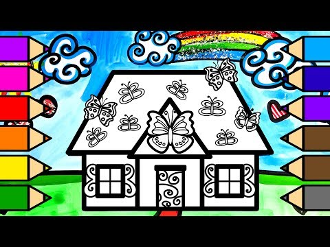 Colouring Butterfly House Colouring Pages with Glitter