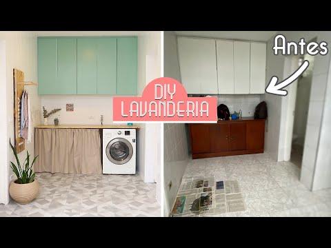 DIY Transformei a Minha Lavanderia!! Pintei os azulejos e fiz toda a decoração!