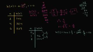 Determining common ratio and initial value for exponential