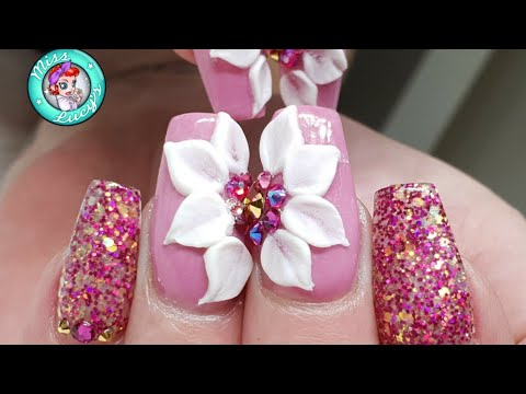 Bright Acrylic Nail Design - 3D Acrylic Flowers - Glitter Acrylic - HD Sweet Shop