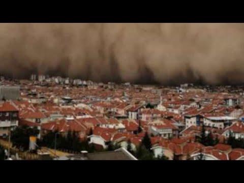 Polatlı'daki gündüzü geceye çeviren kum fırtınası, Ankara şehir merkezine ulaştı