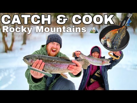 Catch and Cook Trout in Snow Storm - 6 Day Blizzard Camping in the Rocky Mountains - Day 1