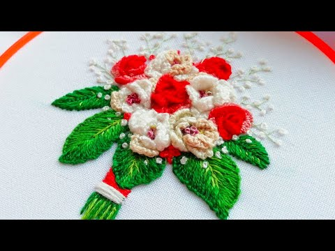 Brazilian embroidery : Rose Bouquet  | Вышивка: Букет роз