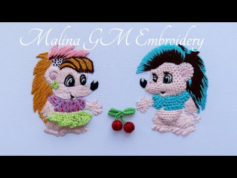 Hand Embroidery | Sweet couple | How to Embroider a Hedgehog