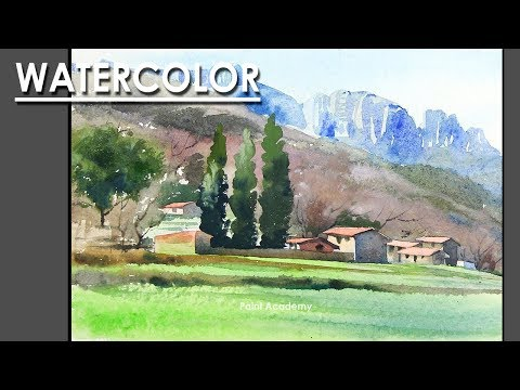 Painting A Beautiful Watercolor Mountain Landscape