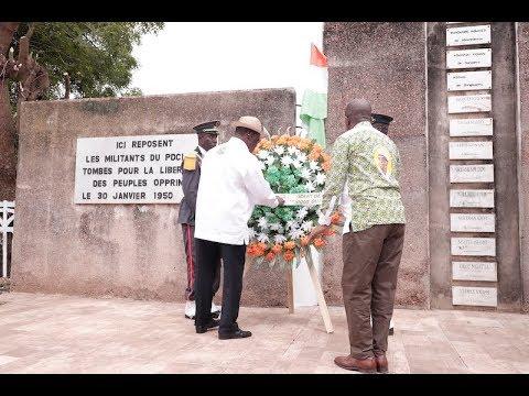 Dépôt de gerbe de fleurs au cimetière des martyrs et mise sous tension du quartier Koffi Ackant