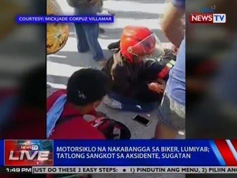 NTVL: Motorsiklo na nakabangga sa biker, lumiyab; 3 sangkot sa aksidente, sugatan