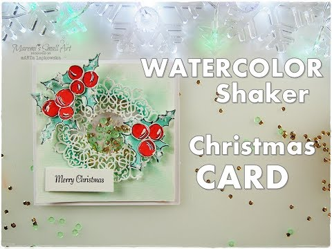 3D Shaker Dimensional Watercolor Christmas Card ♡ Maremi's Small Art ♡
