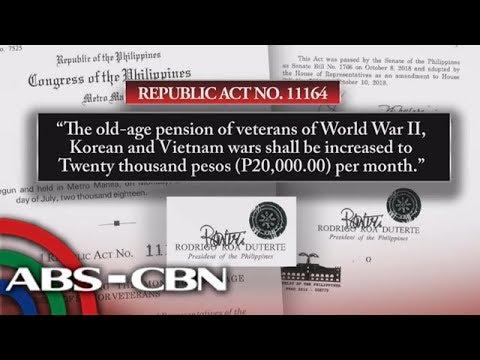 TV Patrol: Batas para sa dagdag-pensiyon ng war veterans pirmado na ni Duterte