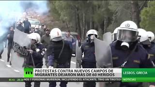 Protestas contra nuevos campos de migrantes en Grecia dejan decenas de heridos