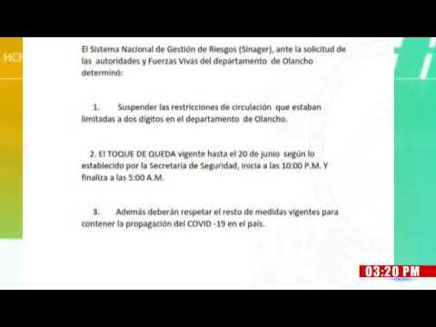 ¡Sinager suspende Circulación por Dígitos en Olancho! Toque de Queda se mantiene