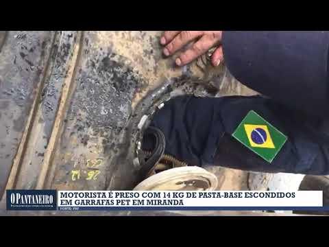 Motorista é preso com 14 kg de pasta base escondidos em garrafas PET em Miranda