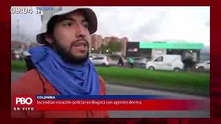 PBO - Protestas en Colombia: Incendian estación policial en Bogotá con agentes dentro