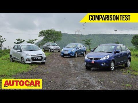 Maruti Dzire vs Tata Zest vs Honda Amaze vs Hyundai Xcent | Comparison Test | Autocar India