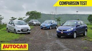 Hyundai Xcent vs Tata Zest vs Maruti Dzire vs Honda Amaze   Comparison Test   Autocar India
