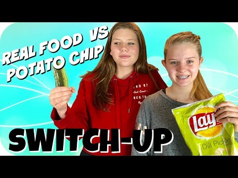 connectYoutube - REAL FOOD VS POTATO CHIP SWITCH UP CHALLENGE    Taylor and Vanessa