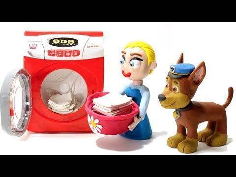 connectYoutube - Elsa Princess & Paw Patrol laundry washing machine stop motion video