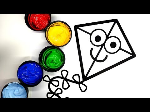 Painting Happy Kite Coloring Page, Learn to Color with Painting, Kite Painting Pages for Baby