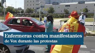 Dos enfermeras se enfrentan a manifestantes de Vox en Ciudad Real