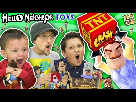 connectYoutube - HELLO NEIGHBOR GIVES US HIS TOYS!!  FGTEEV Boys Video Game Surprise Box from MART (Plushies Figures)